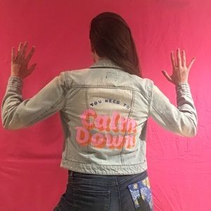 You Need to Calm Down Hand Painted Denim Jacket
